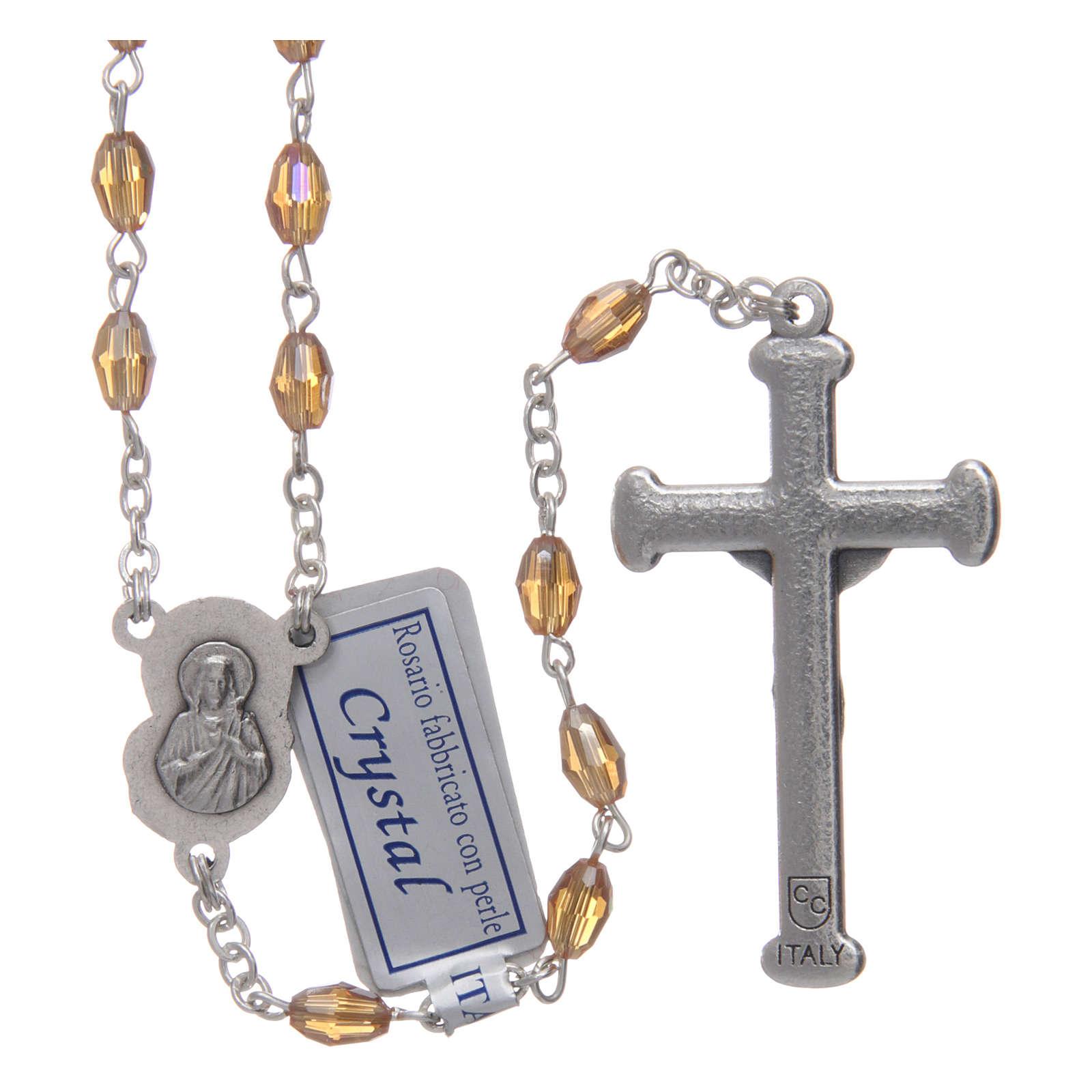 Rosario oro in cristallo con croce e crociera in metallo ossidato 4