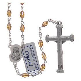 Rosario oro in cristallo con croce e crociera in metallo ossidato s2