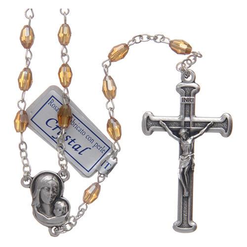 Rosario oro in cristallo con croce e crociera in metallo ossidato 1