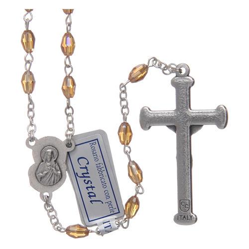 Rosario oro in cristallo con croce e crociera in metallo ossidato 2