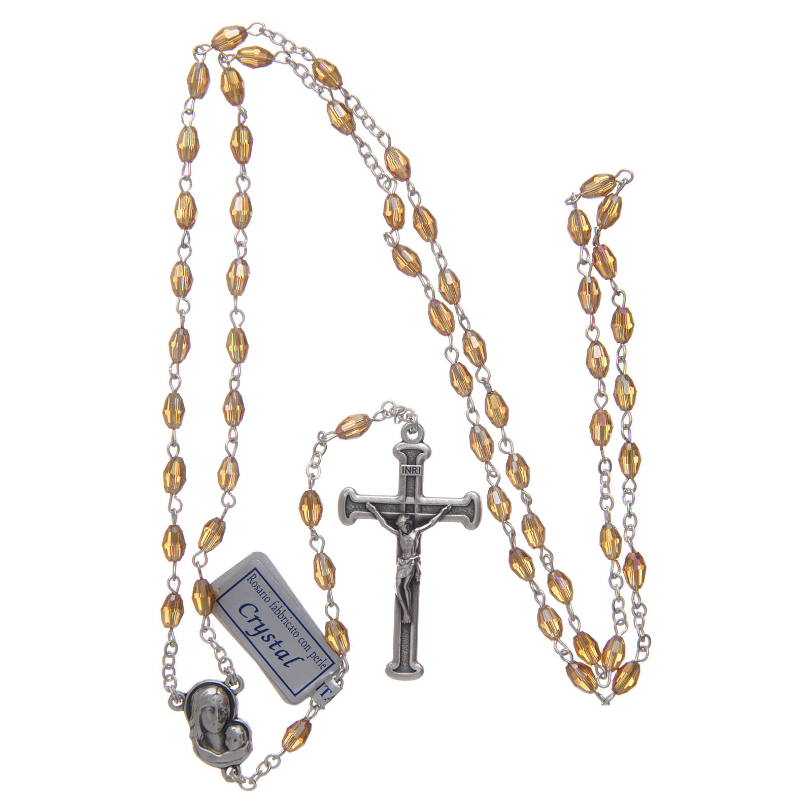 Rosary in gold crystal with cross and center piece in oxidised metal 4