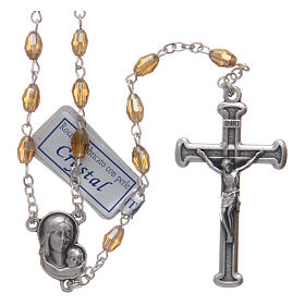 Rosary in gold crystal with cross and center piece in oxidised metal s1