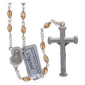 Rosary in gold crystal with cross and center piece in oxidised metal s2