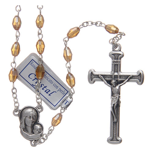 Rosary in gold crystal with cross and center piece in oxidised metal 1