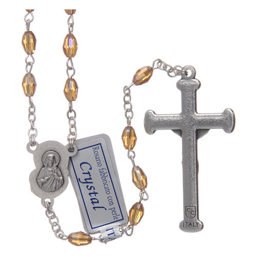 Rosary in gold crystal with cross and center piece in oxidised metal 2