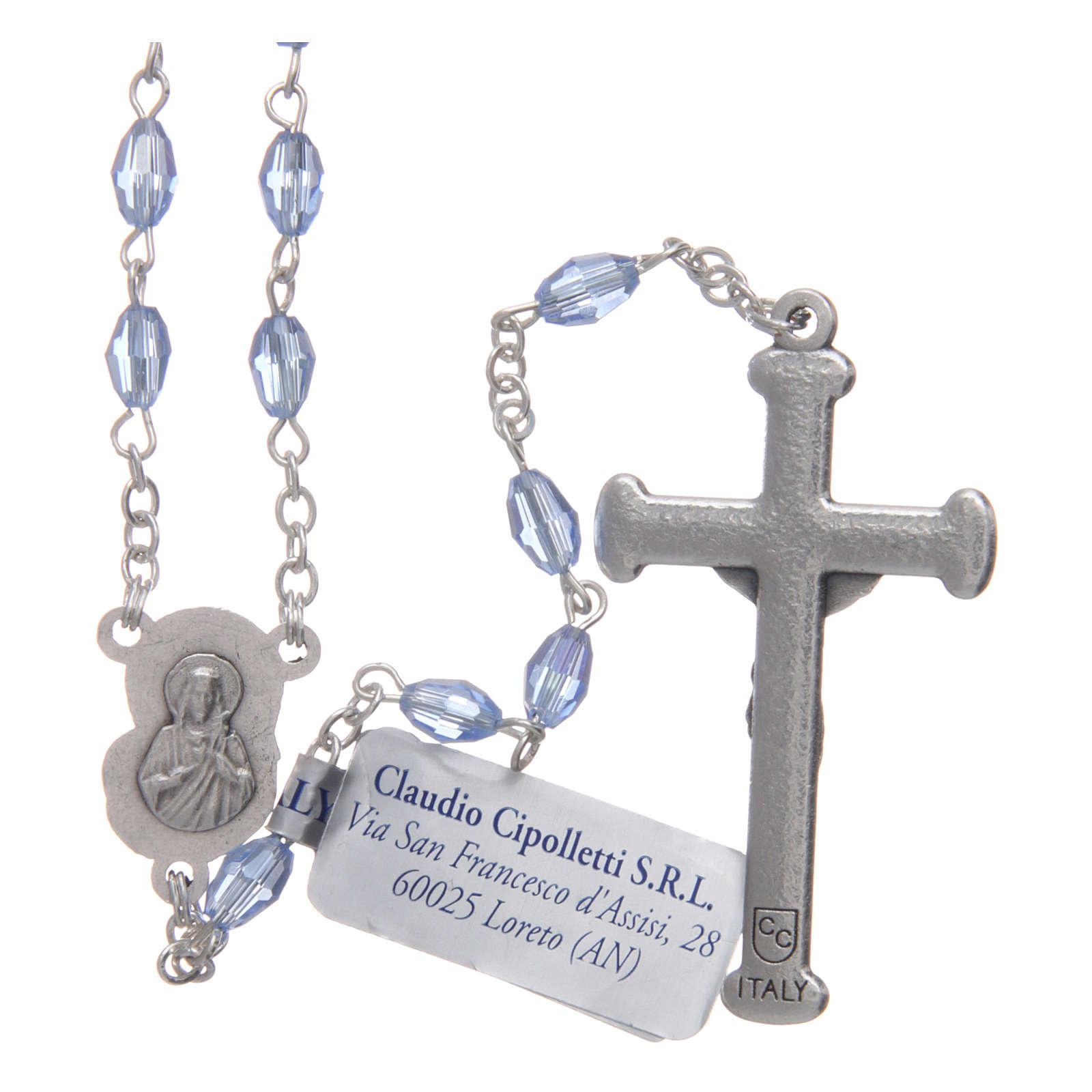 Rosario zaffiro in cristallo con croce e crociera in metallo ossidato 4