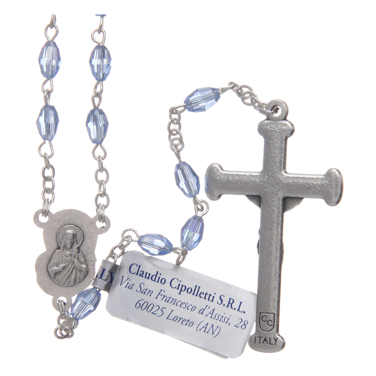 Rosary in sapphire crystal with cross and center piece in oxidised metal 4