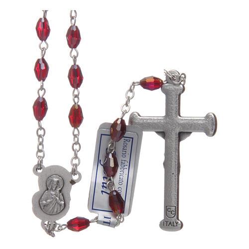 Rosario granata in cristallo con croce e crociera in metallo ossidato 2