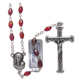 Rosary in garnet crystal with cross and center piece in oxidised metal s1