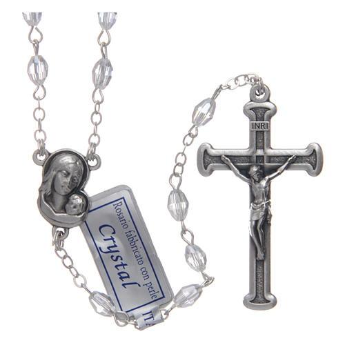 Rosario bianco in cristallo con croce e crociera in metallo ossidato 1
