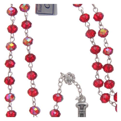 Rosario in metallo con grani cristallo rubino 4
