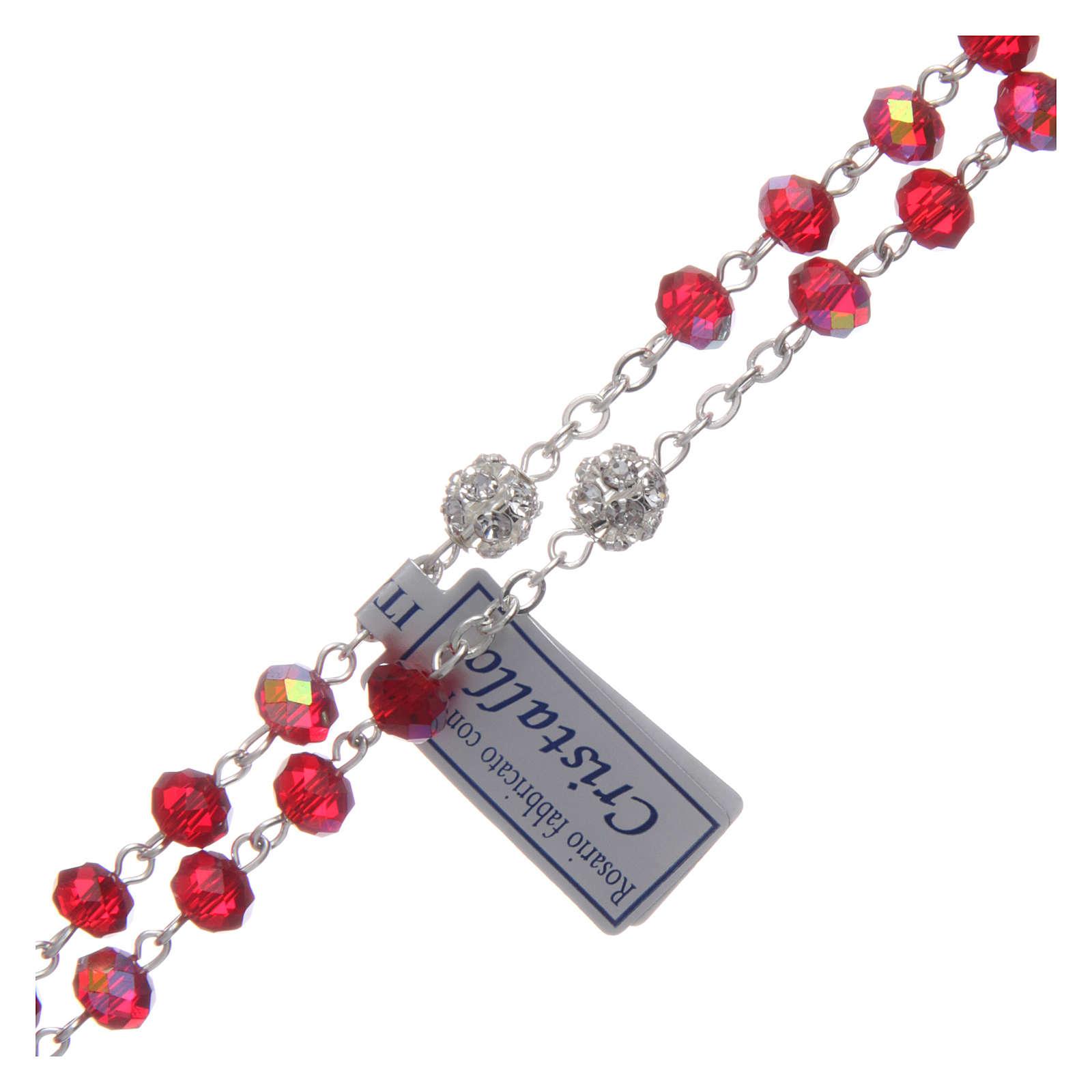 Różaniec z metalu koraliki kryształ rubinowy 4
