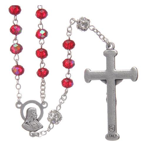 Różaniec z metalu koraliki kryształ rubinowy 2