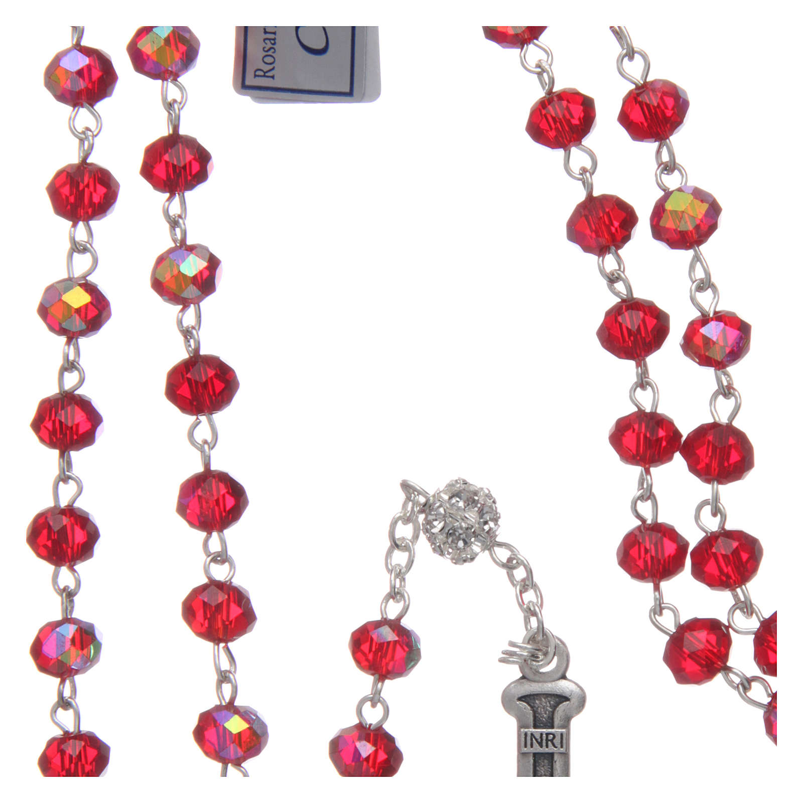 Rosary in metal with ruby crystal grains 4