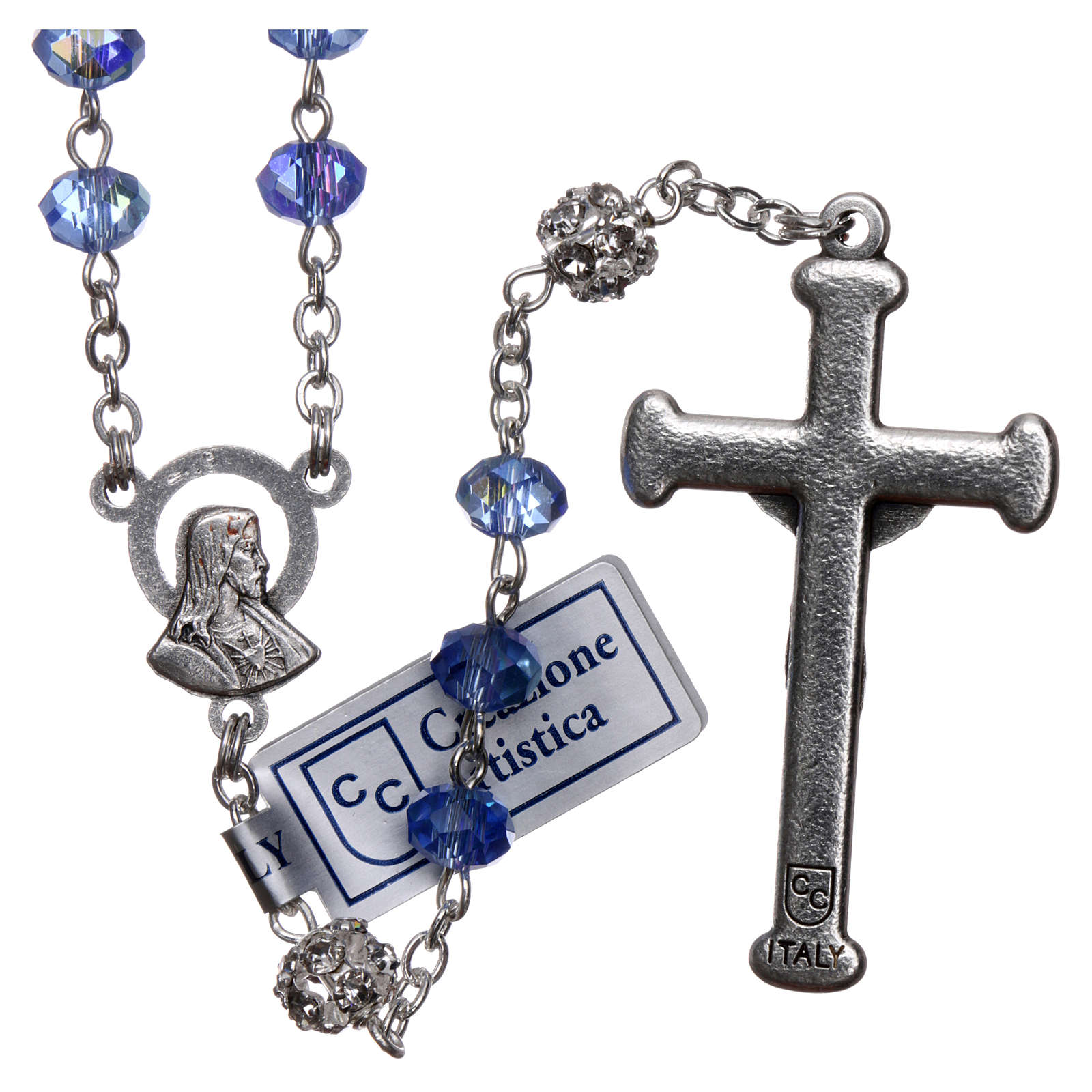 Rosary in metal with sapphire crystal grains 4