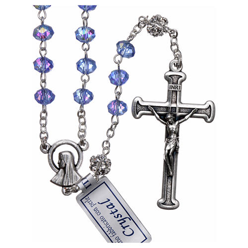 Rosary in metal with sapphire crystal grains 1