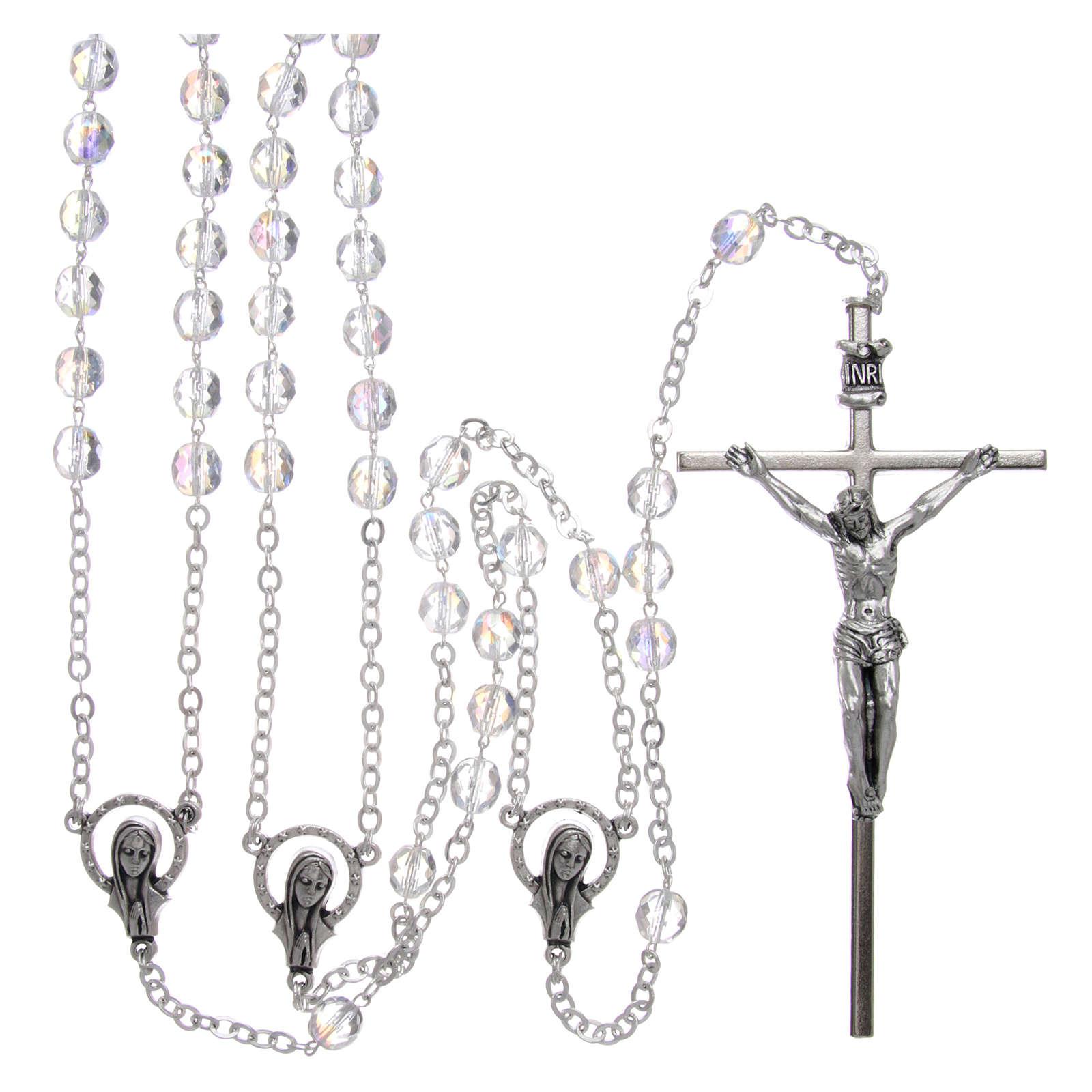 Rosario in cristallo e metallo argentato per matrimonio 4