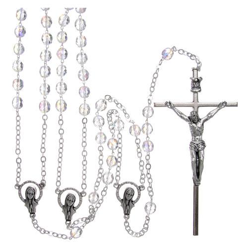 Rosario in cristallo e metallo argentato per matrimonio 1