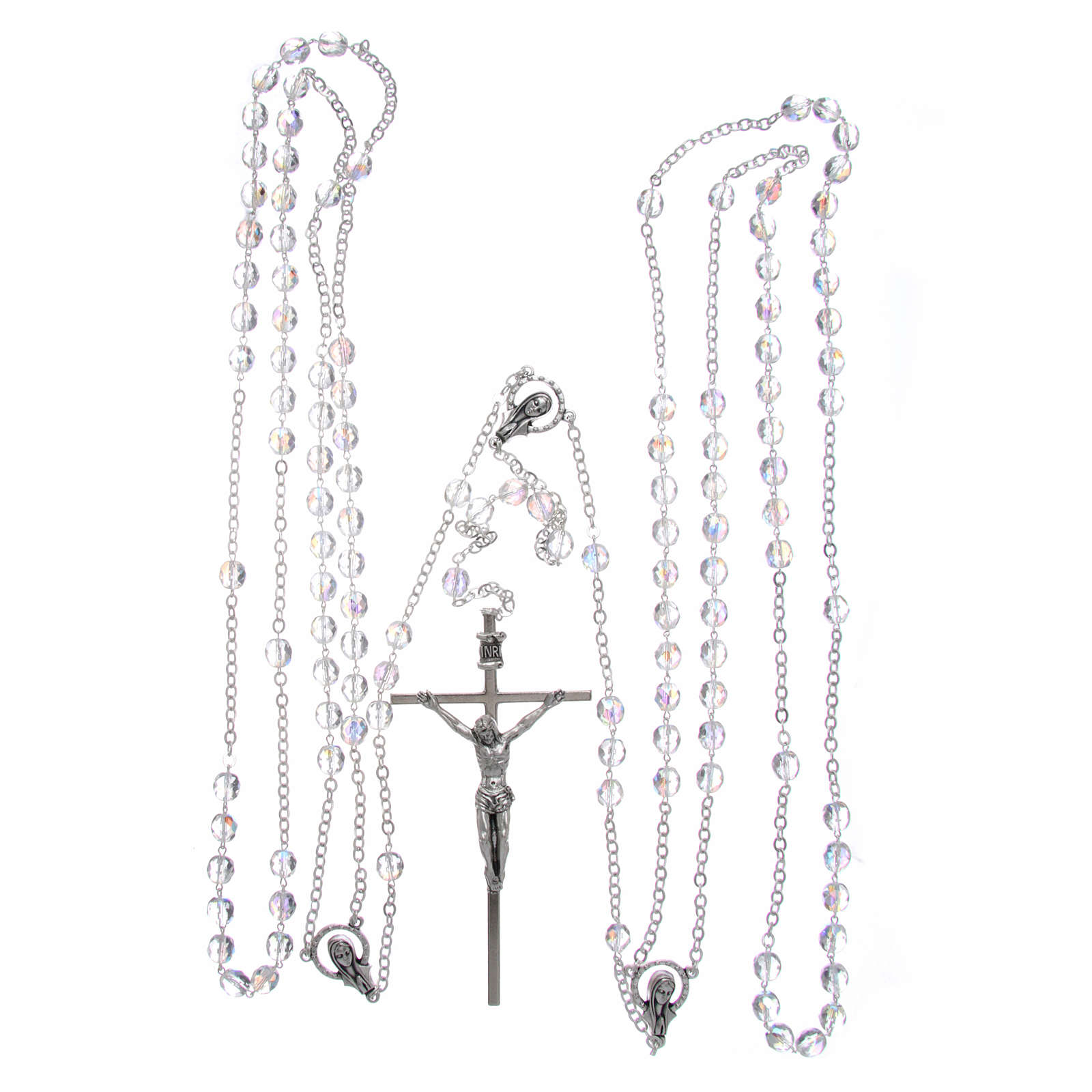 Rosary in crystal and metal silver for wedding 4