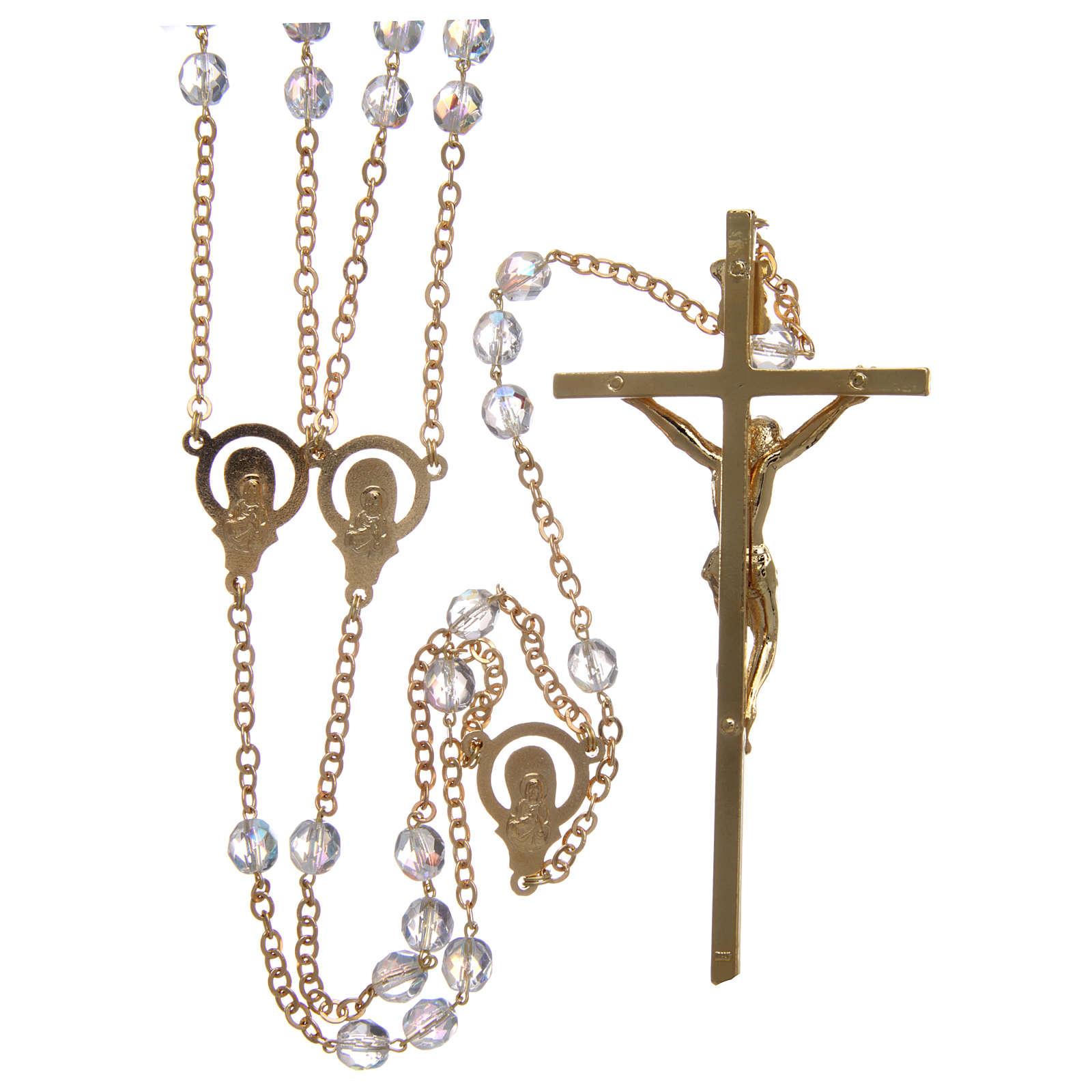 Rosario matrimonio in cristallo con croce e crociera in metallo dorato 4