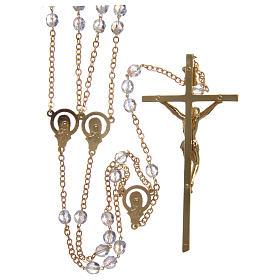 Rosario matrimonio in cristallo con croce e crociera in metallo dorato s2