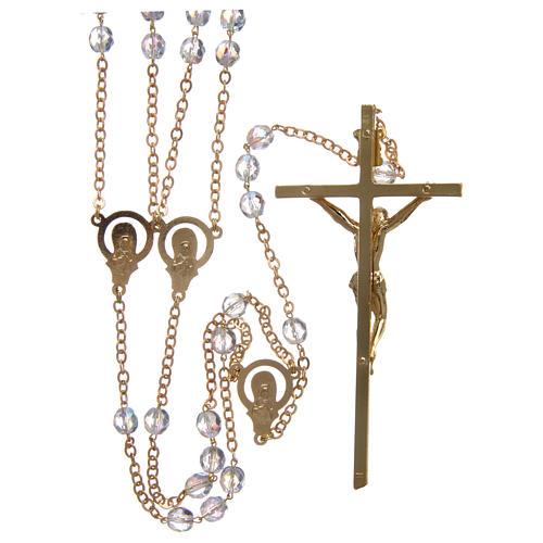 Rosario matrimonio in cristallo con croce e crociera in metallo dorato 2