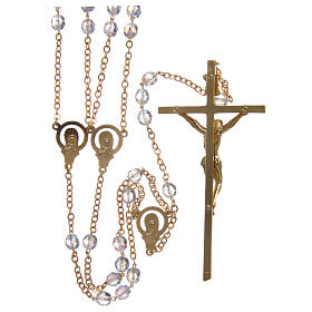 Rosary for wedding in crystal with cross and center piece in metal s2
