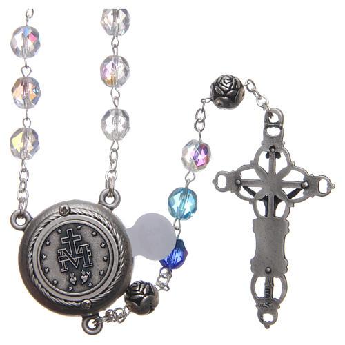 Chapelet cristal nuances bleu médaille parlante ITA 8 mm 2