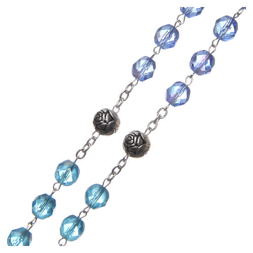 Rosary in crystal with blue shade, talking center piece ITALIAN 8 mm 3