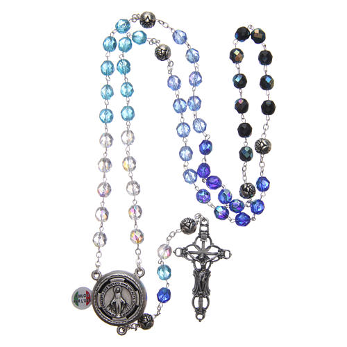 Rosary in crystal with blue shade, talking center piece ITALIAN 8 mm 4