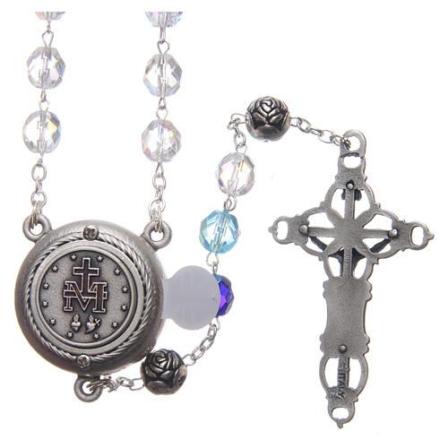 Chapelet cristal nuances bleu médaille parlante ANG 8 mm 2