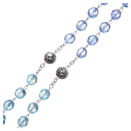 Rosario cristallo sfumature blu crociera parlante INGLESE 8 mm 3