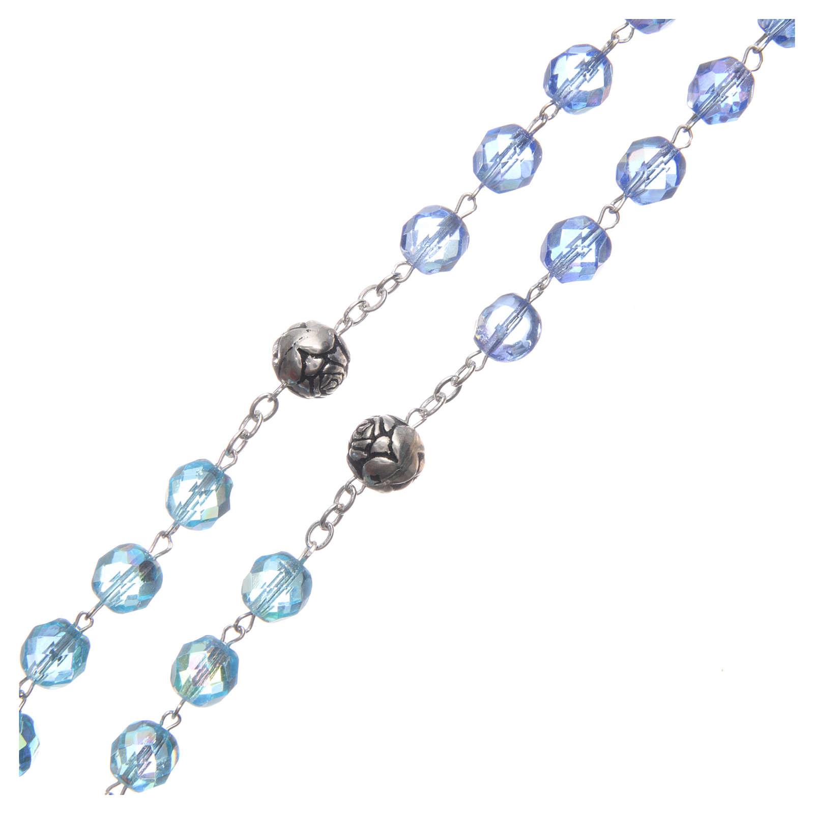 Rosary in crystal with blue shades and talking center piece in ENGLISH 8 mm 4