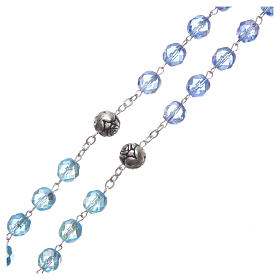 Rosary in crystal with blue shades and talking center piece in ENGLISH 8 mm s3