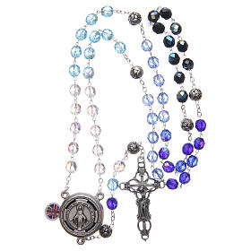 Rosary in crystal with blue shades and talking center piece in ENGLISH 8 mm s4
