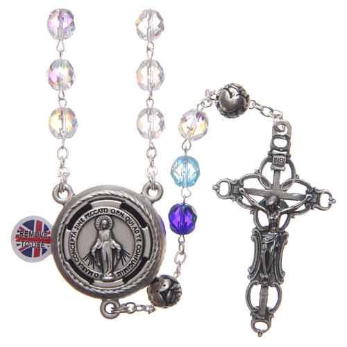 Rosary in crystal with blue shades and talking center piece in ENGLISH 8 mm 1