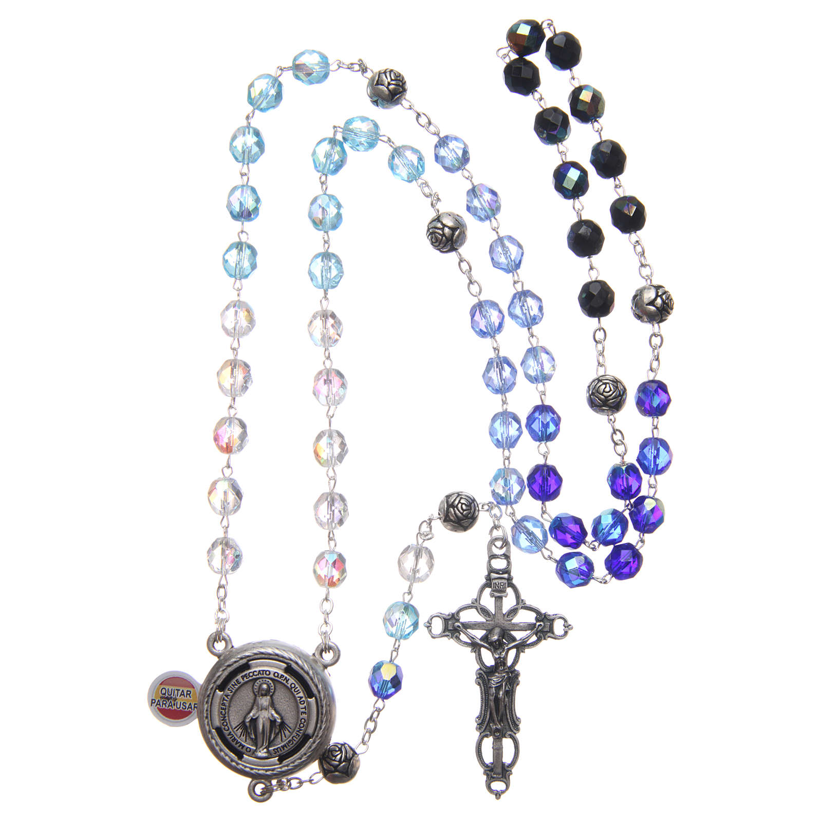 Rosary in crystal with blue shades and talking center piece in SPANISH 8 mm 4