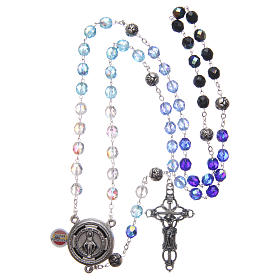 Rosary in crystal with blue shades and talking center piece in SPANISH 8 mm s4
