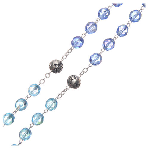 Rosary in crystal with blue shades and talking center piece in SPANISH 8 mm 3