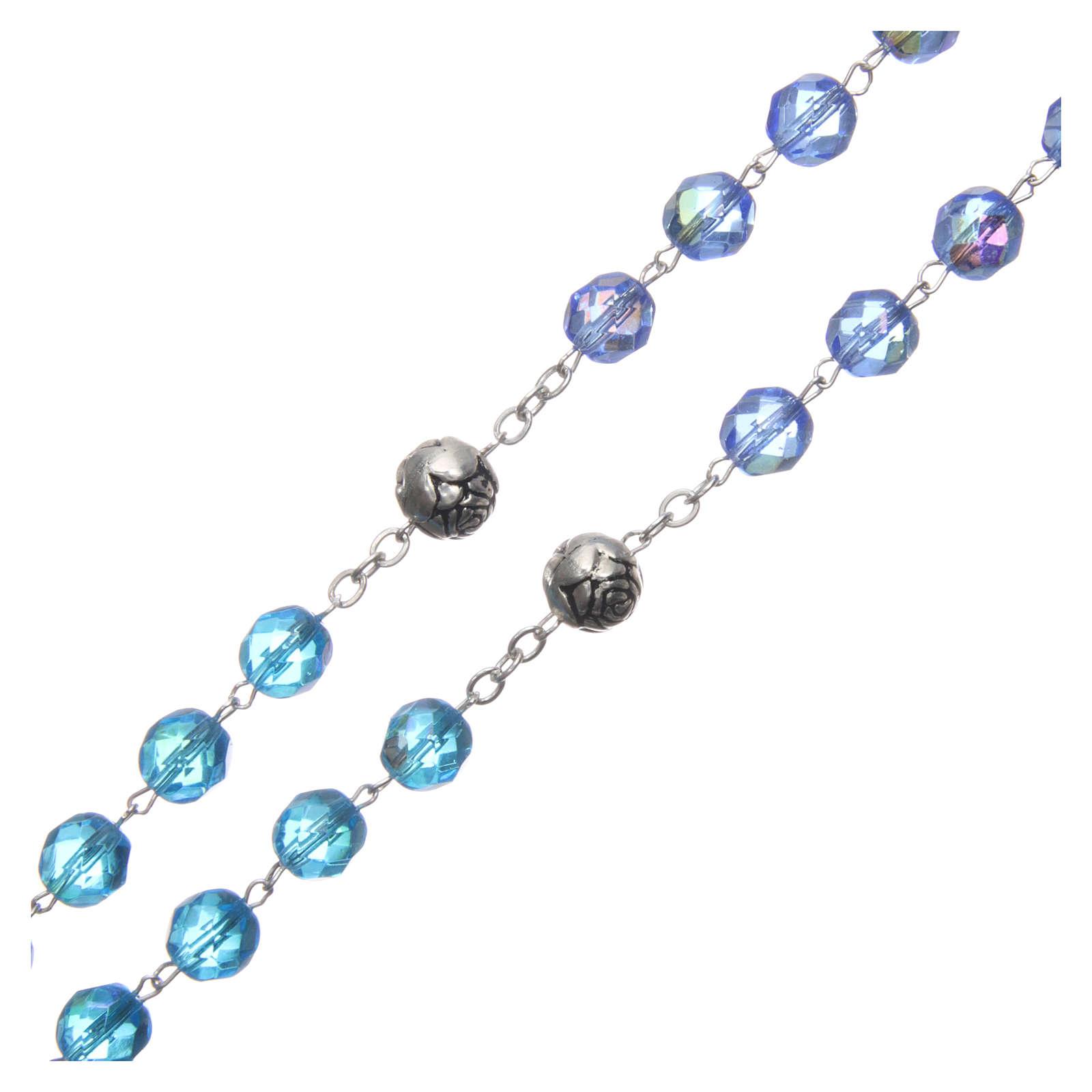 Chapelet cristal nuances bleu médaille parlante FRA 8 mm 4