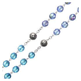 Chapelet cristal nuances bleu médaille parlante FRA 8 mm s3
