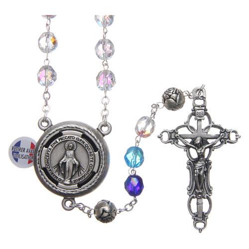 Chapelet cristal nuances bleu médaille parlante FRA 8 mm 1