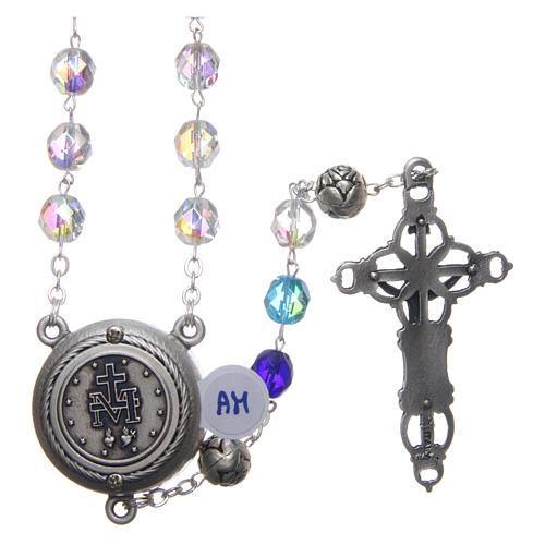 Chapelet cristal nuances bleu médaille parlante FRA 8 mm 2
