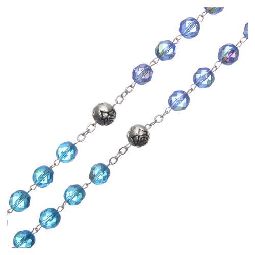 Chapelet cristal nuances bleu médaille parlante FRA 8 mm 3