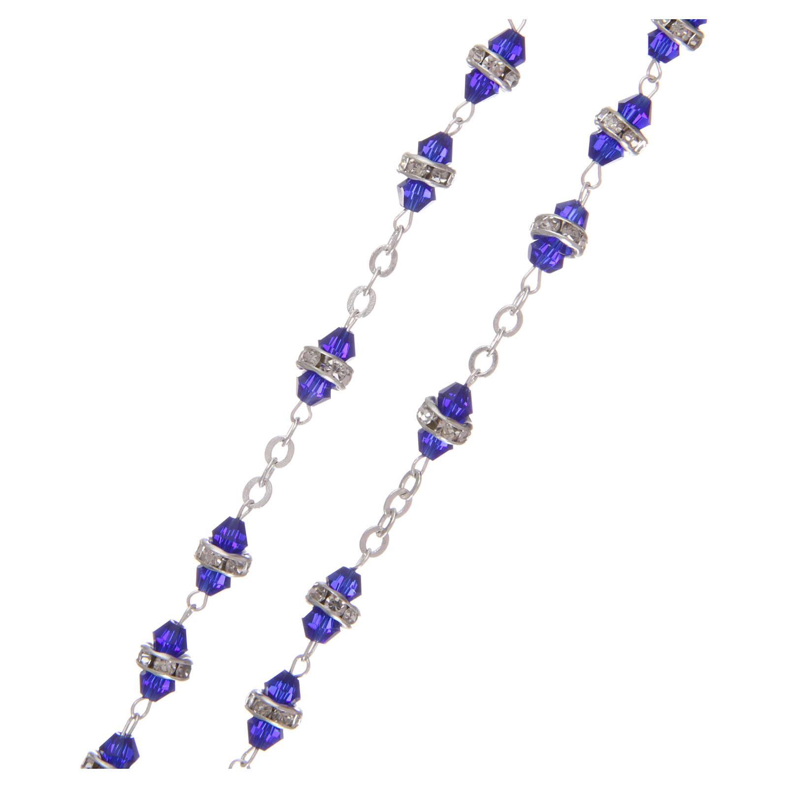 Rosario mezzo cristallo 6x3 mm blu 4