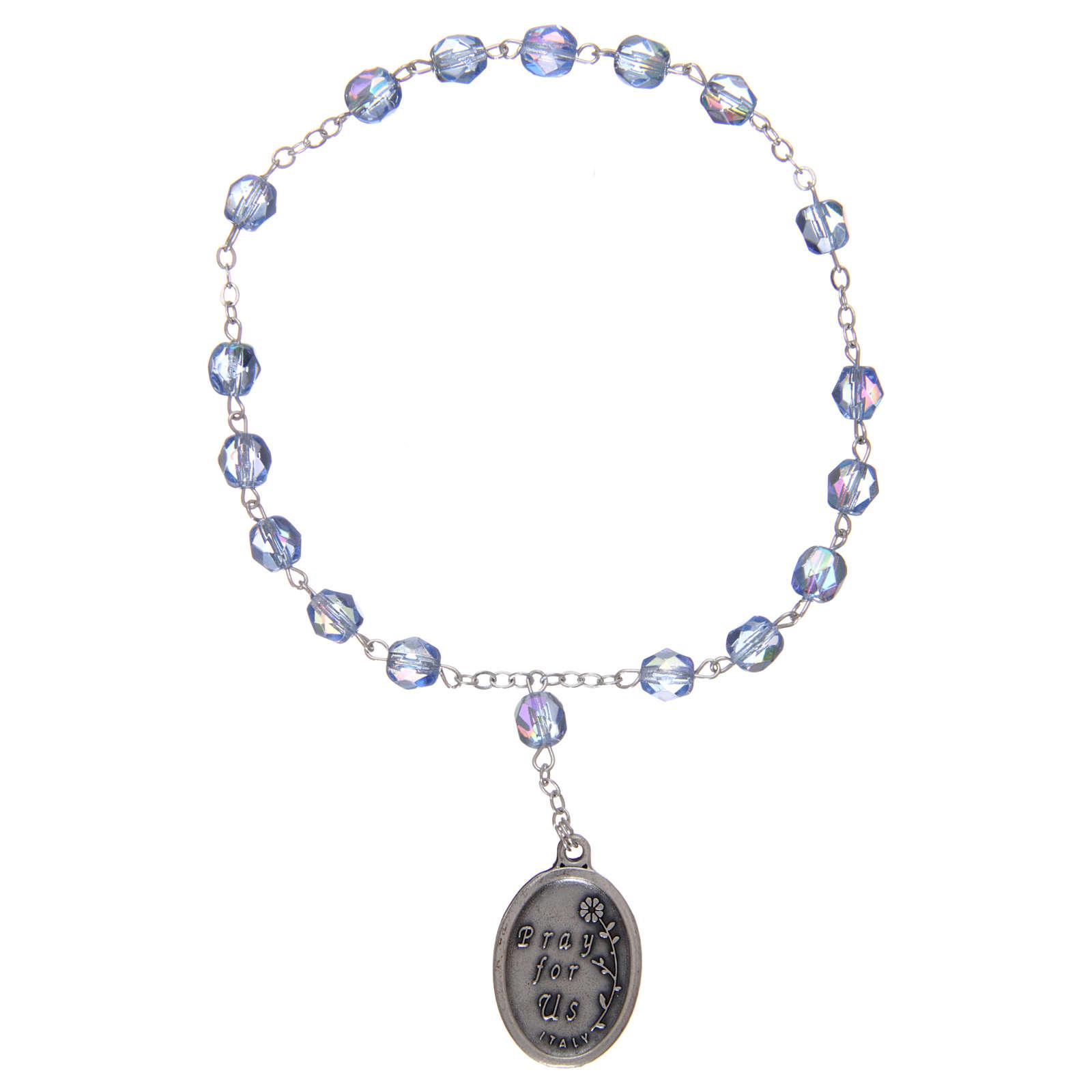 Chapelet semi-cristal Sainte Anne 3 mm bleu clair 4