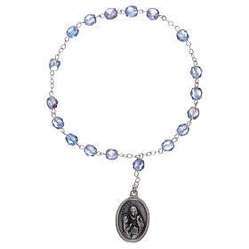 Chapelet semi-cristal Sainte Anne 3 mm bleu clair s1