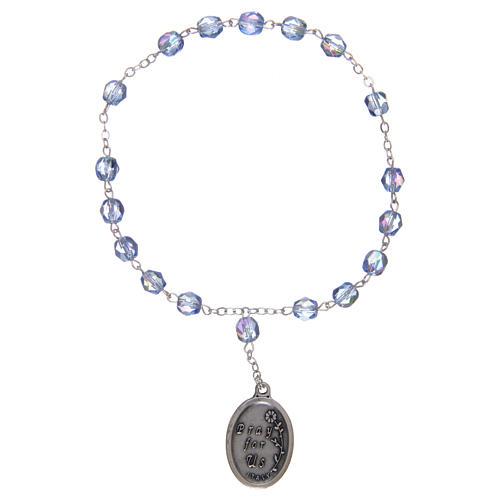 Chapelet semi-cristal Sainte Anne 3 mm bleu clair 2