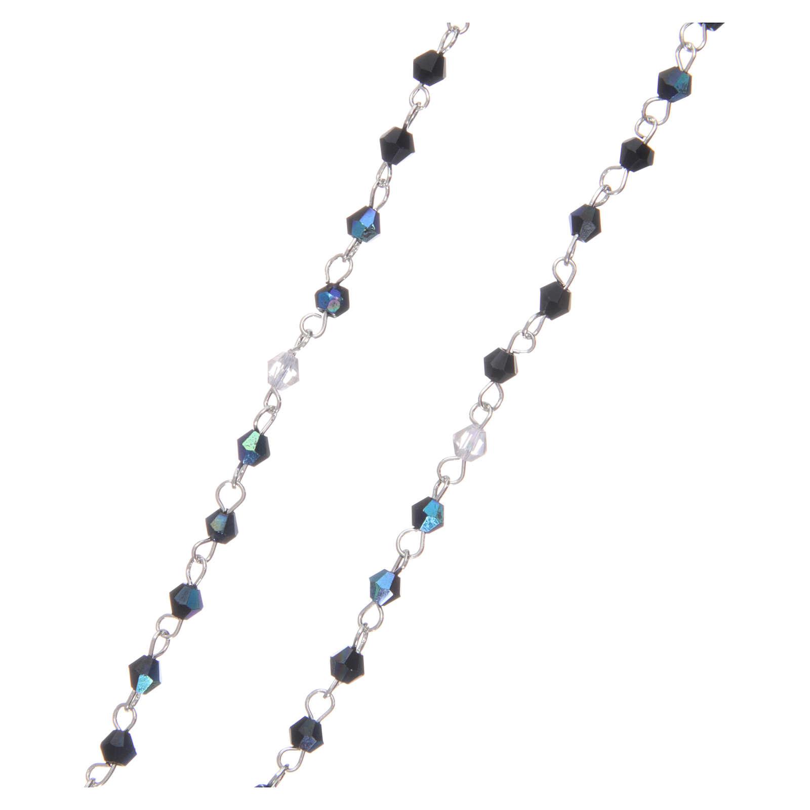 Rosario a collana mezzo cristallo grani sfaccettati 1 mm Nero iridescente 4