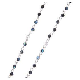 Rosario a collana mezzo cristallo grani sfaccettati 1 mm Nero iridescente s3